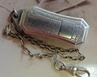 Silver Belt Slide Pocket Watch Chain, Not Monogrammed, Men's Gift
