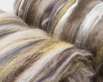 Hand Carded Batts, Luxury batts, Extrafine Merino, Yak, Silk, Tencel, Flax, Spinning fibre, felting batts, 104g, Silver Birch