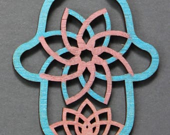 Hand Painted Blue and Pink  Laser cut Bamboo Hamsa Hand of God Wall hanging Ornament with Flower Lotus Pattern on waxed cotton cord