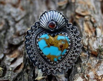 Turquoise and Carnelian Milagro Heat Ring