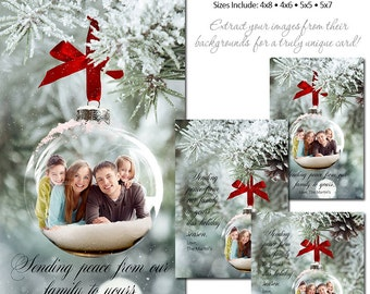 Christmas Photo Card Set - FROSTED GLASS ORNAMENTS - (4x6,4x8,5x5,5x7) - Digital Photoshop Templates for Photographers & Scrap Bookers.