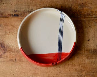 SALE! Entry Way Catchall / Pet Bowl 8 inch in Red Stripes -Ready To Ship