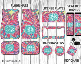 Feeling Groovy  Inspired by Lilly Pulitzer Car Mat / Car mat Monogram / Car Accessory Gift  Set