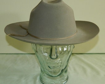 Size 7 Rare 1940s 50s Raw Hide Felts Spirit of the West Fedora Men's Hat Longhorn Rancher Cleaned and Blocked wyogems