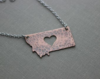Montana Rustic Copper Necklace with stainless steel chain - Heart cut out - MT State Love - Hometown necklace -