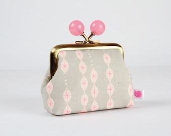 Metal frame coin purse with color bobbles - Lanterns in gray - Color mum / Melody Miller / Jubilee / Japanese fabric / neon pink stars