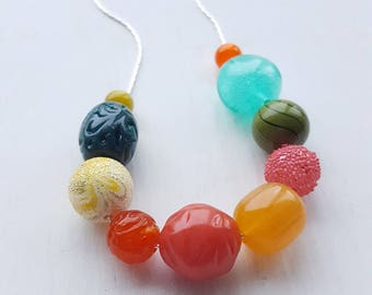 please don't eat the jewelry - necklace - vintage lucite - juicy colors - chunky necklace - aqua teal olive pink