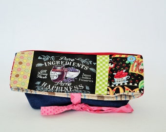 Pencil case,Foldover, foldover clutch, fold over bag, foldover clutch, shabby chic, foldover patchwork, pouch, bag blueberry, bag,québec