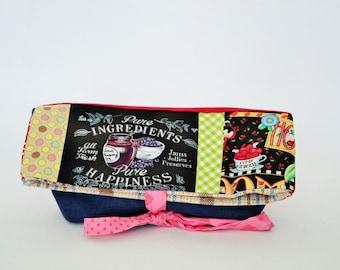 Pencil case,Foldover, foldover clutch, fold over bag, foldover clutch, shabby chic, foldover patchwork, pouch, bag blueberry, bag,québec