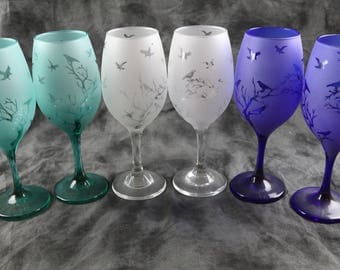 The Birds in Trees  Frosted Wine and Tumbler Glasses Set Of 2 in  Aqua, yellow,Blue, clear or green