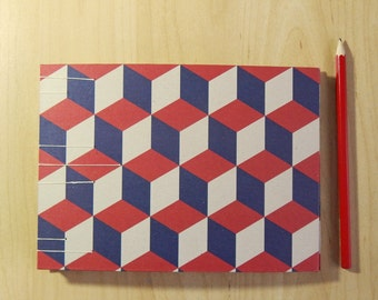 Sketchbook with block pattern in blue and red - 8x6 ins, A5 size - Gifts for Artists