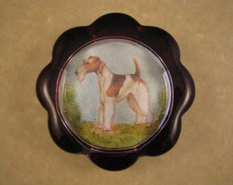 Wire Fox Terrier Dog Portrait Scallop Glass Paperweight Home Decor Dog Lover