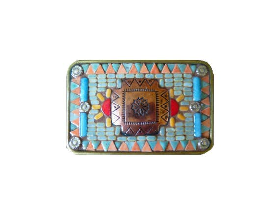 Unisex Western Southwestern Native American Style Cross Mosaic Belt Buckle