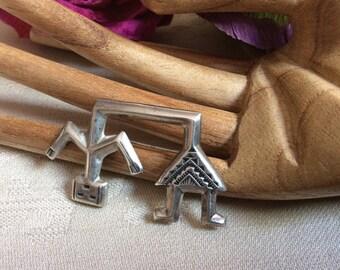 Vintage Navajo tribal spirit sterling silver brooch, Divine Spirit sterling silver Native American FJ art, Felix Joe sterling silver pin