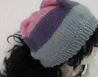 pink, purple, blue washable wool hat