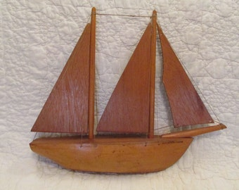 Vintage Wood Ship Sailboat Hand made Hand strung Great Shelf Piece