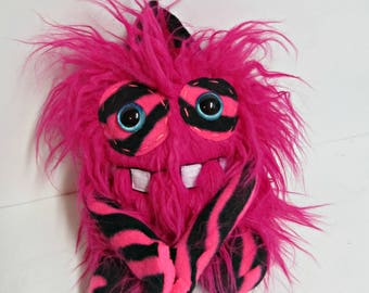 Plush Monster Durant - Handmade Monster Plush - Hot Pink Crazy Faux Fur Monster - Zebra Print - Weird Cute Plush Toy - Hand Embroidered