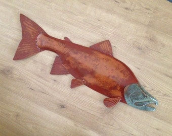 Sockeye Salmon Metal Fish Wall Art Sculpture 30in Lodge Cottage Cabin Lake