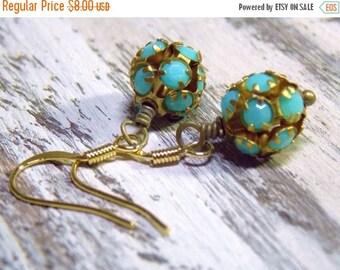 Sale Vintage Turquoise Brass Ball Earrings Simple Light Minimalist Vintage Rhinestones Petite  Round Dangle Drop Petite Earrings Opaque Turq