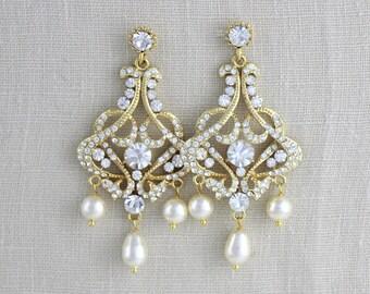 Gold chandelier earrings, Bridal earrings, Crystal Wedding earrings, Wedding jewelry, Statement earrings, Rhinestone earrings, VICTORIA