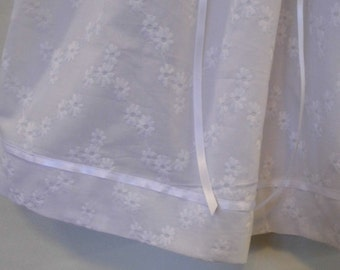 White eyelet lace lined, long sleeve, christening, baptism, blessing gown, dress