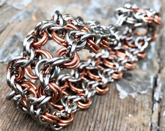 Chainmaille Bracelet - Copper & Stainless Steel - Split Byzantine Style Cuff