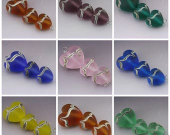 Handmade Lampwork Heart Beads SeaGlass Etched Pastel Raked EKG Orange Purple Teal Blue Pink Yellow Green Heather Behrendt BHV SRA LETeam