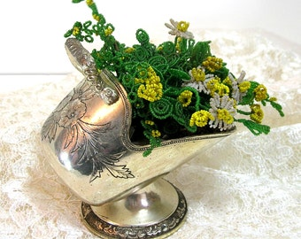 Vintage Beaded Flowers in Miniature Silver Metal Coal Scuttle