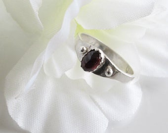 Garnet and Sterling Promise Ring, Friendship Ring, January Birthstone Ring