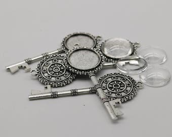 KEY Bezel with 20mm GLASS Magnifying Domes Cabochon - 5 sets 10 pcs  - 71mmx27mm Antique Silver - KB02 We are USA Seller ship fm California