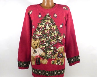 Ugly Christmas Sweater Vintage 1980s Tree  Holiday Tacky Xmas Party Women's size 22 24