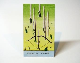 Eight of Wands - Original Watercolor Painting - Tarot Card