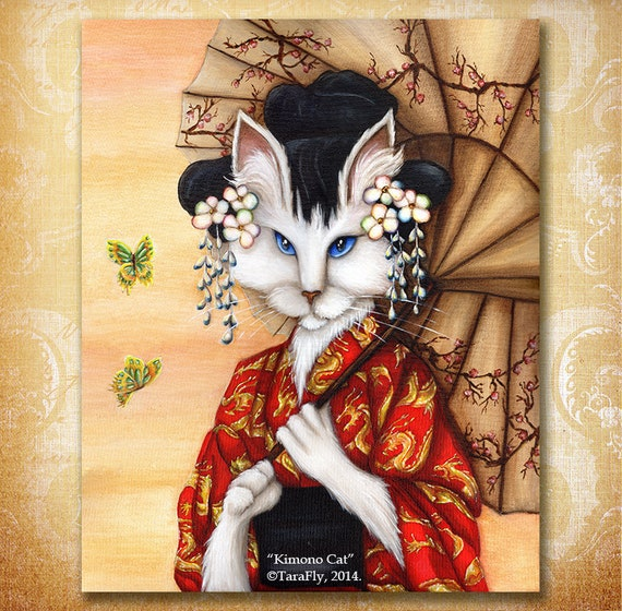 Japanese Cat Art, White Cat Wearing Red Kimono with Gold Dragons 8x10 Fine Art Print