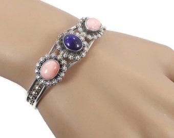 Lapis Bracelet, Peach Coral Cuff, Sterling Silver, Vintage Cuff, Blue Stone, Boho Bohemian, Vintage Bracelet, Mixed Stones, Layer Stack