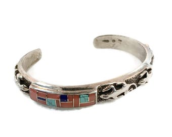Turquoise Cuff, Gecko, Lizard, Inlaid Stone, Sterling Silver, Tufa Cast, Lapis, Spiny Oyster, Cuff Bracelet, Native American, Shell
