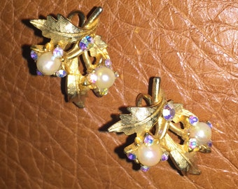 Vintage Clip On Earrings with Faux Pearls and Aurora Borealis Beads
