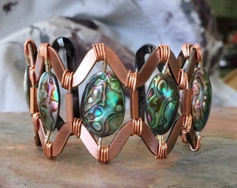 Cuff Bracelet In Antique Copper With Puffed Abalone Shells, Cuff Bracelet, Gorgeous Colors, Statement Bracelet, Wire Wrapped, Jewelry, Gift