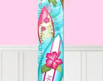 Canvas GROWTH CHART Hibiscus Girl Surf Bedroom Kids Baby Nursery Wall Art GC0296