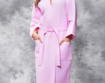 Women's Longer length robe Tall robe Name or Monogrammed Men or Women's Personalized Embroidered Waffle weave robe Spa robe 5 Colors