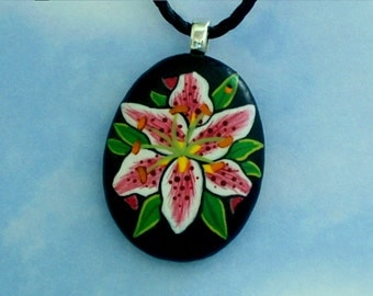 custom for odette-pink white daylily pendant-mandala ring in Halloween colors-painted rocks-rockartiste