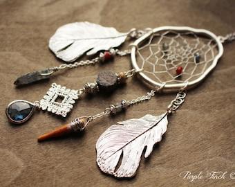 Couture Silver Birds Nest Dreamcatcher Necklace Dream Catcher One of a Kind 26