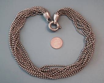 """Vintage Silver Tone Beaded Chain 17"""""""