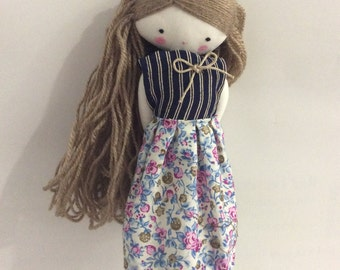 Handmade rag doll , Laia - ooak cloth art rag doll blouse, skirt and socks toy for girls