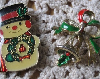 Two Vintage Cloisonne Christmas Pins with Snowman and Bell