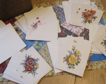 Set of Beautiful Vintage Floral Blank Notecards