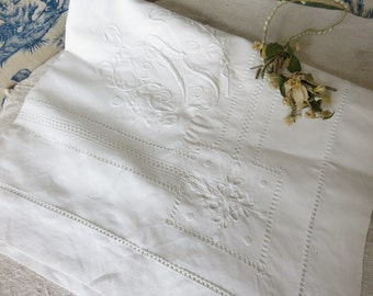 Large Antique French Embroidered Linen Pillowcase, Gorgeous hand embroidery, Monogram, White Cutwork Decor, Paris Apartment Chic Textiles