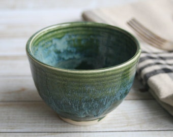 Small Green Yunomi Cup Handcrafted Stoneware Teacup Ceramic Pottery Ready to Ship Made in USA