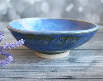 Rustic Stoneware Bowl with Leaf Motif in Blue Glaze Stoneware Ceramic Pottery Bowl Ready to Ship Made in USA