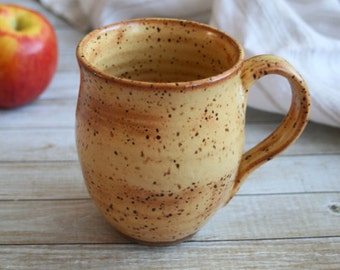 Extra Large Rustic Pottery Mug in Gold Shino Glaze on Toasted Brown Speckled Stoneware Holds 16 oz. Ready to Ship Made in USA