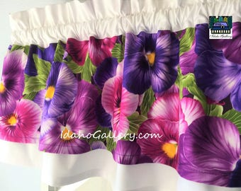 Large Pansy Viola Purples Double Layered Curtain Bedroom Kitchen Window Valance Modern